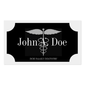 Dentist White/Black Plaque/Silver Stripes Business Cards