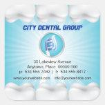 Dentista brillante de los dientes colcomanias cuadradass