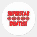 Dentista de la superestrella pegatina redonda