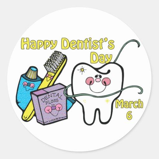 Dentista día 6 de marzo pegatina redonda