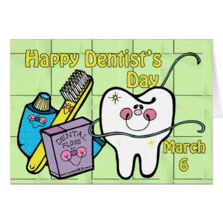 Dentista día 6 de marzo tarjeta de felicitación