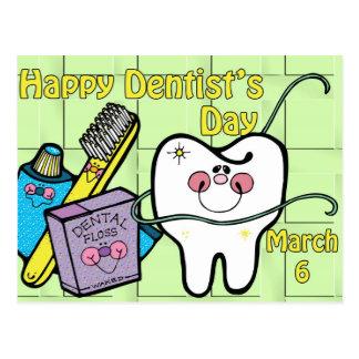 Dentista día 6 de marzo tarjeta postal