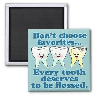 Dentista divertido imán cuadrado