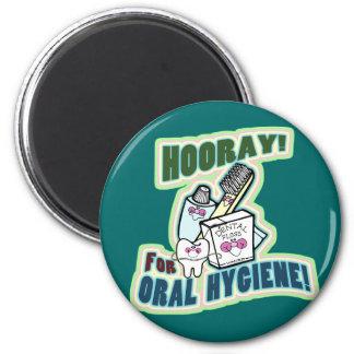 Dentista o higienista divertido imán redondo 5 cm