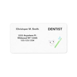 Dentista - oficina dental etiqueta de dirección