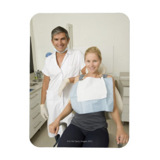 Dentista y paciente retrato iman flexible