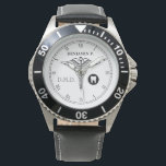 "Dentistry Custom Name Elegant Black|White Watch<br><div class=""desc"">An elegant monogram black and white watch, with a classic medical caduceus symbol and a spot for your gift recipient&#39;s name and last name initial monogram/ or job title abbreviation. A great gift for anyone who is a dentist, a D.M.D. graduate, dental hygienist, or any proud member of the community...</div>"