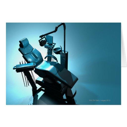 Dentist's chair, computer artwork. greeting card