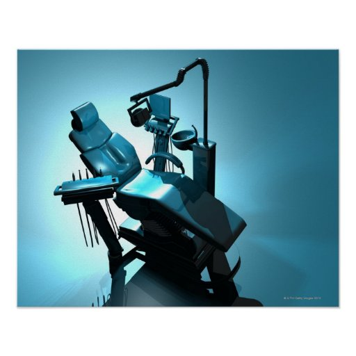 Dentist's chair, computer artwork. poster