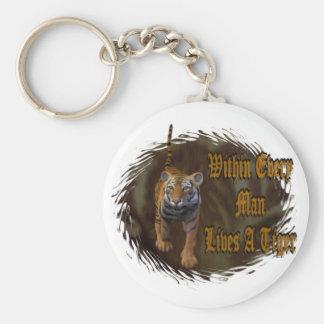 Dentro de cada hombre vive un tigre llavero redondo tipo pin