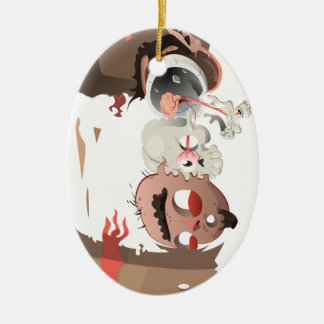 Dentro de mi cabeza adorno navideño ovalado de cerámica