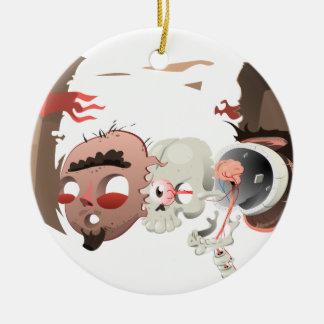 Dentro de mi cabeza adorno navideño redondo de cerámica