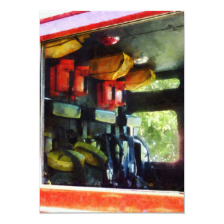 """Dentro del coche de bomberos invitación 5"""" x 7"""""""