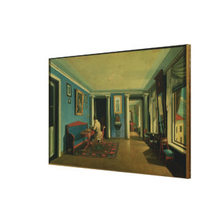 Dentro. Sala de estar con Entresol Columned Impresión En Lienzo Estirada