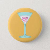 Dentures False Teeth Martini Pinback Button