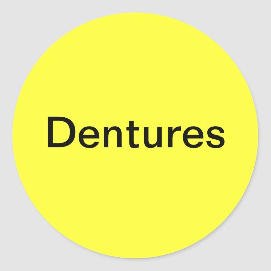 Dentures Label/ Classic Round Sticker