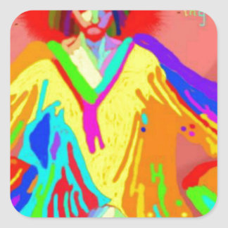 Denuncia y discusión, pintura de aceite digital pegatina cuadrada