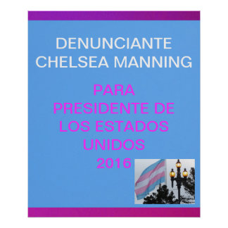 Denunciante Chelsea Manning para presidente 2016 Poster