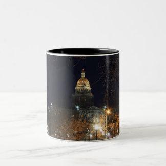 Denver At Night Two-Tone Coffee Mug