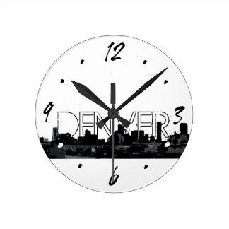 Denver black white skyline decorative wall clock