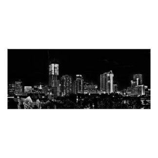 Denver by Night in Black and White Poster