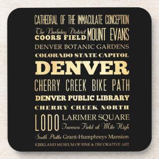 Denver City of Colorado State Typography Art Beverage Coaster