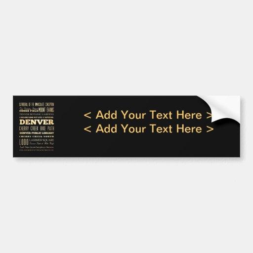 Denver City of Colorado State Typography Art Car Bumper Sticker
