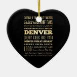 Denver City of Colorado State Typography Art Ceramic Ornament