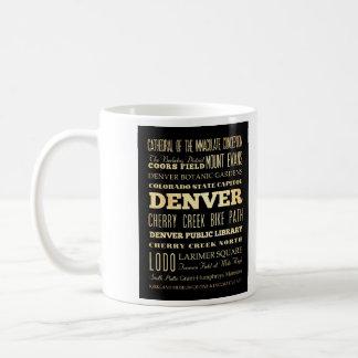 Denver City of Colorado State Typography Art Coffee Mug