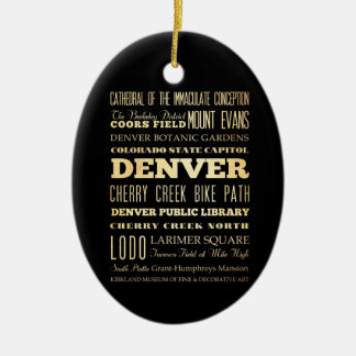 Denver City of Colorado State Typography Art Double-Sided Oval Ceramic Christmas Ornament