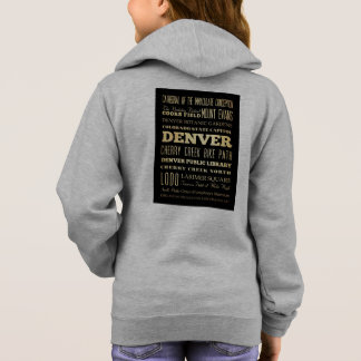 Denver City of Colorado State Typography Art Hoodie