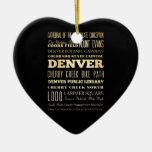 Denver City of Colorado State Typography Art Double-Sided Heart Ceramic Christmas Ornament