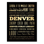 Denver City of Colorado State Typography Art Post Card