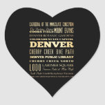 Denver City of Colorado State Typography Art Heart Sticker