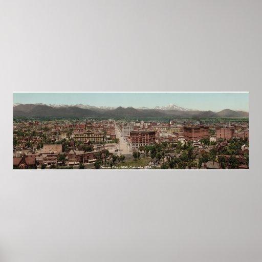Denver City panorama, vintage America print