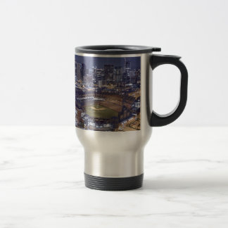 Denver City Skyline and Coors Field at Night Travel Mug