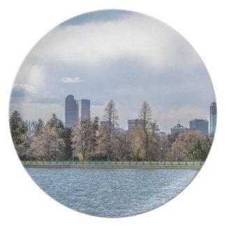 denver city skyline in colorado plate