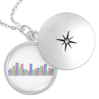 Denver city skyline locket necklace
