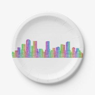 Denver city skyline paper plate