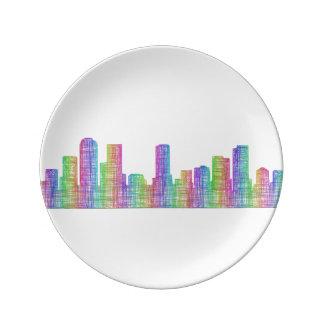 Denver city skyline plate