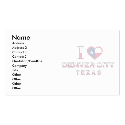Denver City, Texas Double-Sided Standard Business Cards (Pack Of 100)