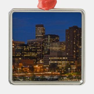 Denver Cityscape Square Metal Christmas Ornament