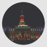 Denver Civic Center Holiday Lights - New Style Classic Round Sticker