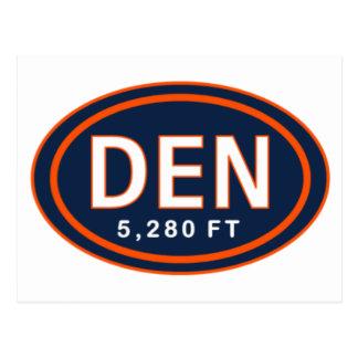 Denver CO 5,280 FT Blue & Orange Football Postcard