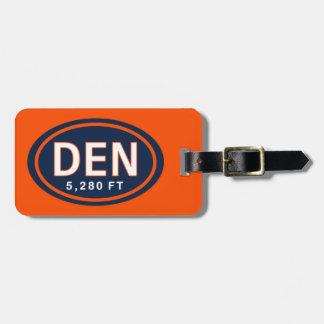 Denver CO 5,280 FT Blue & Orange Luggage Tag
