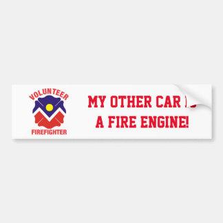 Denver, CO Flag Volunteer Firefighter Cross Car Bumper Sticker
