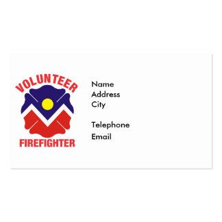 Denver, CO Flag Volunteer Firefighter Cross Double-Sided Standard Business Cards (Pack Of 100)