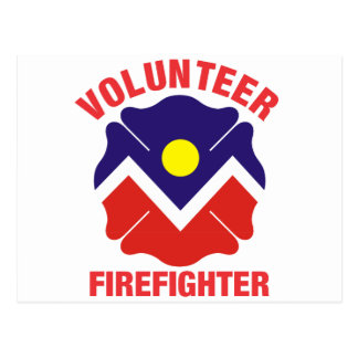 Denver, CO Flag Volunteer Firefighter Cross Postcard