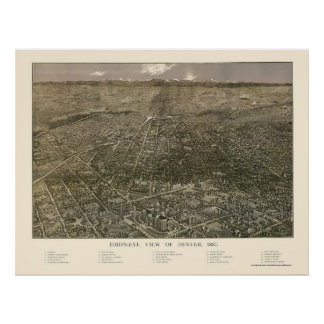 Denver, CO Panoramic Map - 1887 Poster