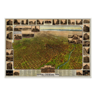 Denver, CO Panoramic Map - 1908 Poster